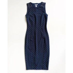H&M Navy White Polka Dot Sleeveless Pencil Dress